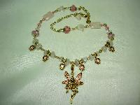 Signed Kirks Folly Pink Quartz & AB Diamante Dangle Angel Gold Necklace