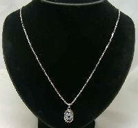 1970s Quality Real Silver Blue Topaz Pendant & Chain